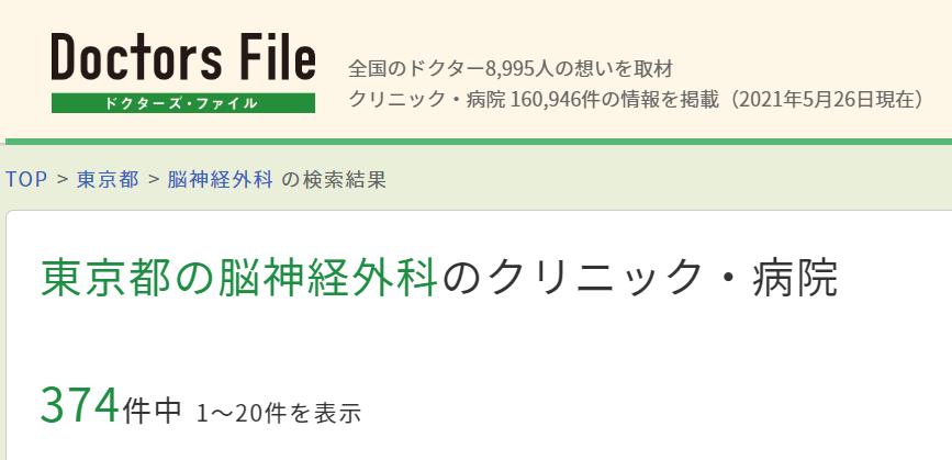 東京都の脳神経外科は374件