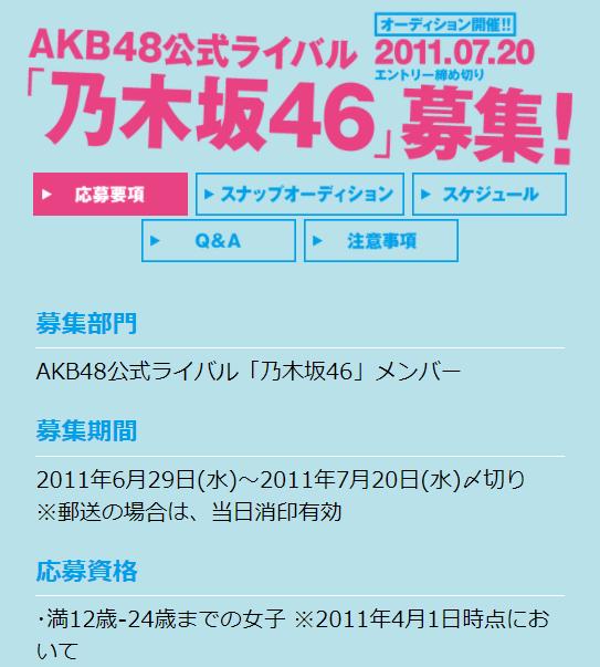 乃木坂46のオーディション募集要項