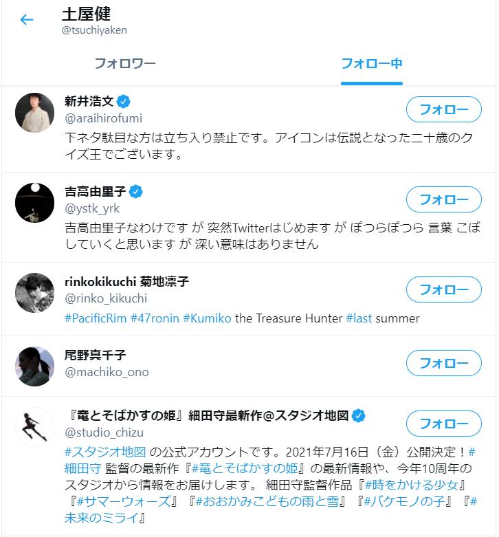 土屋健さんのツイッターアカウント