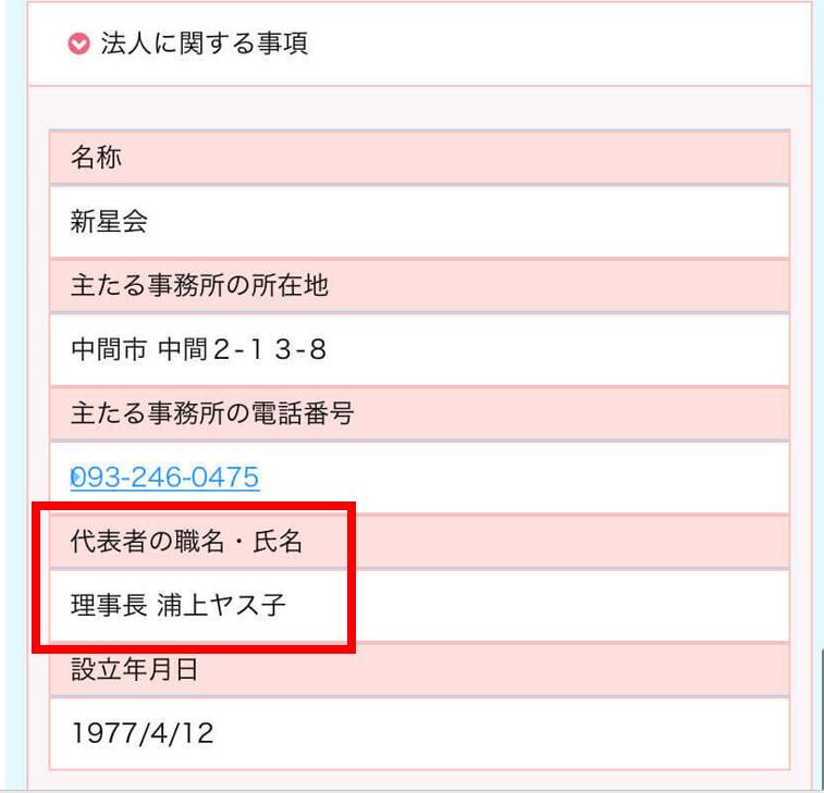 双葉保育園の理事長の名前は浦上ヤス子